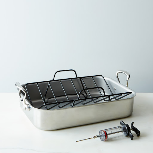 Mauviel Roasting Pan with Rack & Rosle Flavor Injector