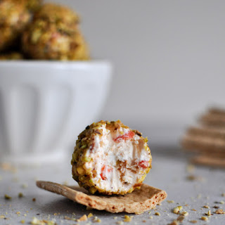 Roasted Red Pepper + Bacon Goat Cheese Truffles.