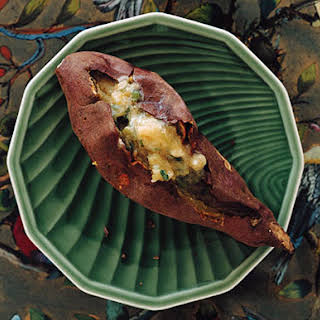 Roasted Japanese Sweet Potatoes with Scallion Butter.