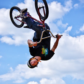 In the sky by Tomas Vocelka - Sports & Fitness Cycling ( clouds, rider, sky, in the sky, loop, bmx, stunt, freestyle, upside down )