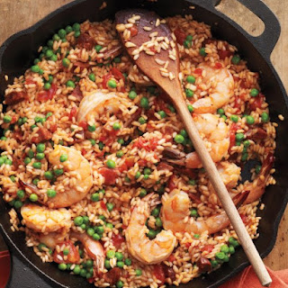 Skillet Paella with Shrimp and Tomatoes