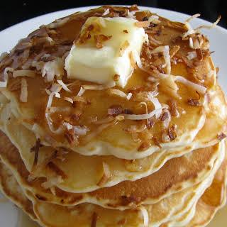 White Chocolate Coconut Pancakes.