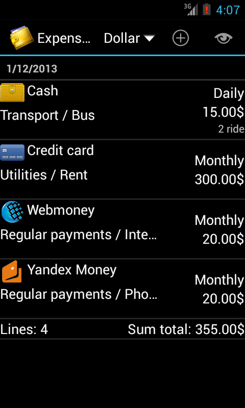 Home Bookkeeping - screenshot