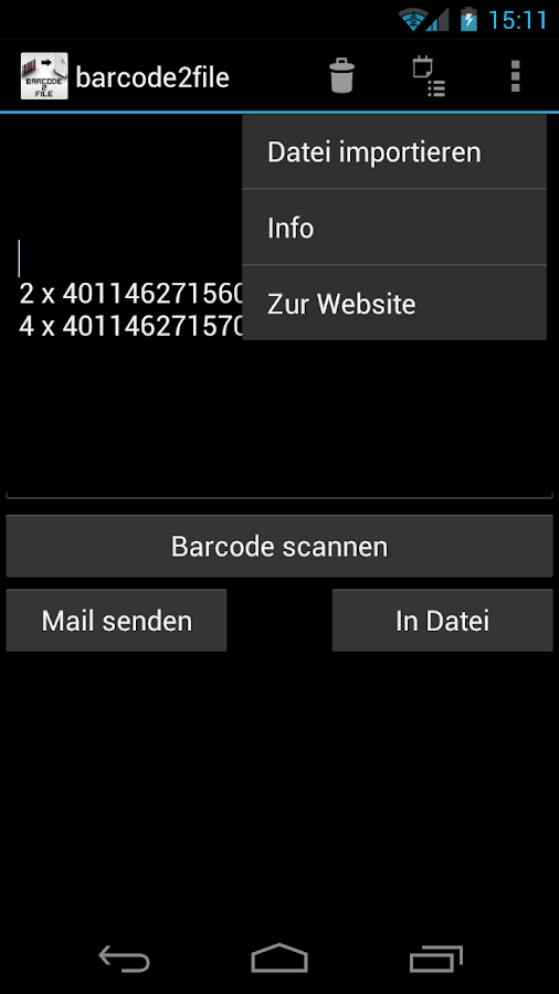 barcode2file - screenshot