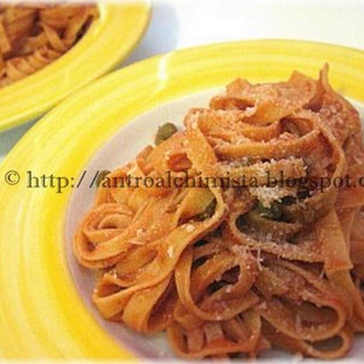 Tomato, Peas and Salted Ricotta Cheese Tagliatelle Noodles Recipe