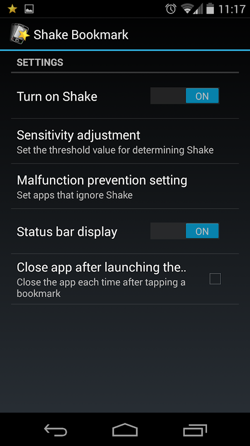 Shake Bookmarks- screenshot