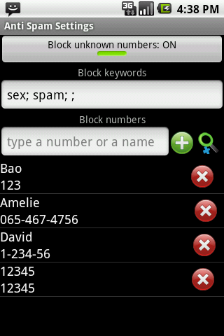 Anti SMS Spam PRO- screenshot