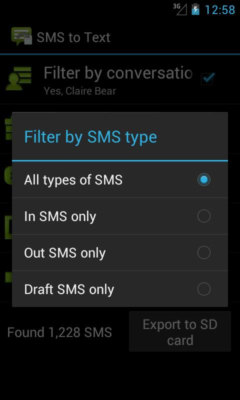 SMS to Text screenshots
