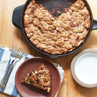 Dark Chocolate and Hazelnut Skillet Blondies.