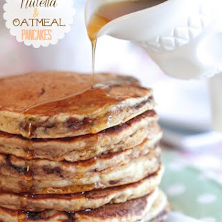 Banana Nutella and Oatmeal Pancakes