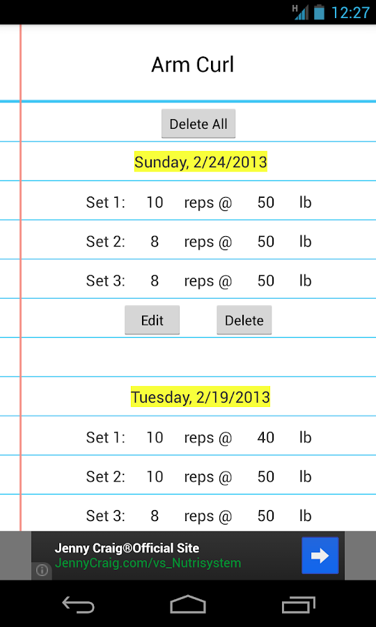 Simple Workout Log - screenshot