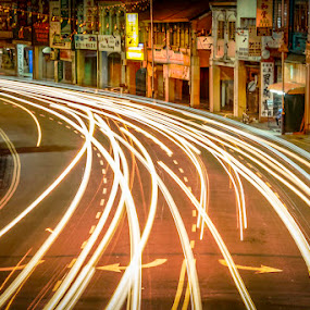 Light Trail 2 by Adrian Choo - City,  Street & Park  Street Scenes ( penang, light trails, night, streets, 500d, heritage )