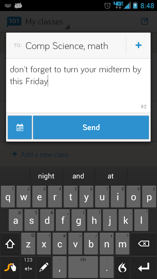 Remind101 free teacher sms app - screenshot