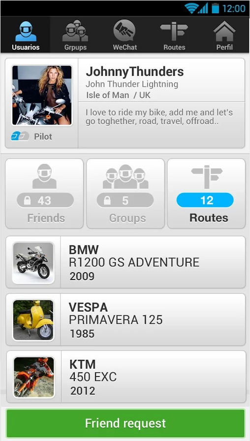 WeRide;Motorcycle,routes,chats - screenshot