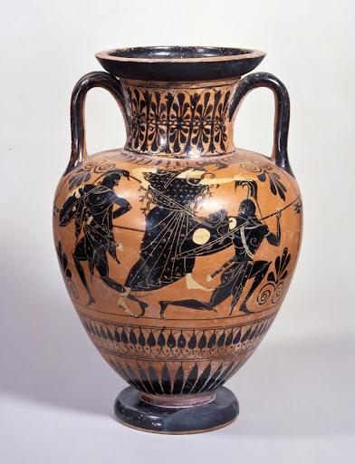 Athenian Black Figure Amphora Dionysos With Satyrs And Maenads