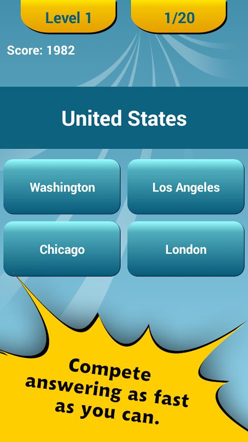 Countries Capitals Quiz - screenshot