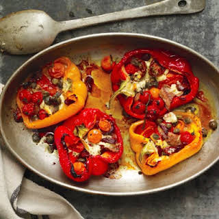 Roasted Red Peppers With Anchovies And Tomatoes.