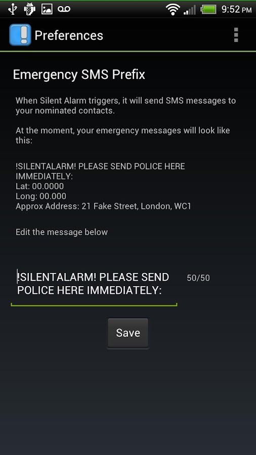Silent Alarm Panic Button- screenshot