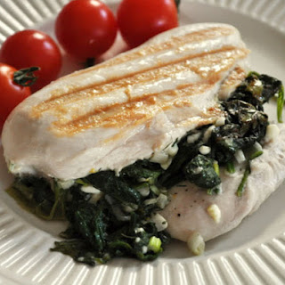 Spinach and Scallion Stuffed Chicken Breasts.