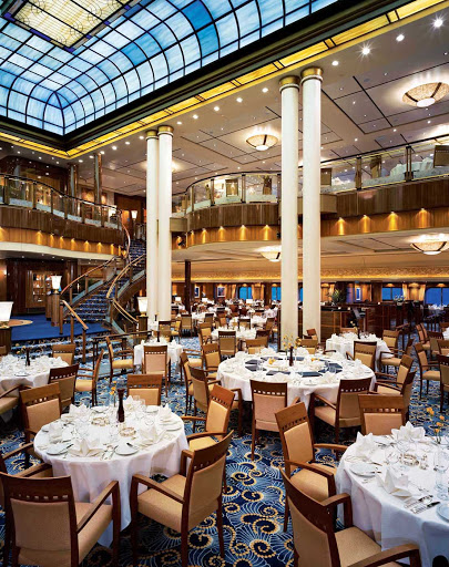 Cunard-Queen-Mary-2-Britannia-Restaurant - Dine in the elegantly designed Britannia Restaurant for a night to remember while sailing on Queen Mary 2.
