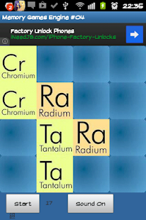 Chemical elements memory game - screenshot thumbnail