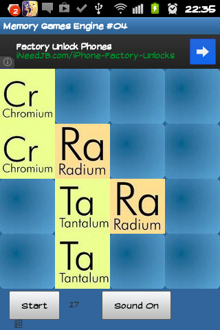 Chemical elements memory game - screenshot