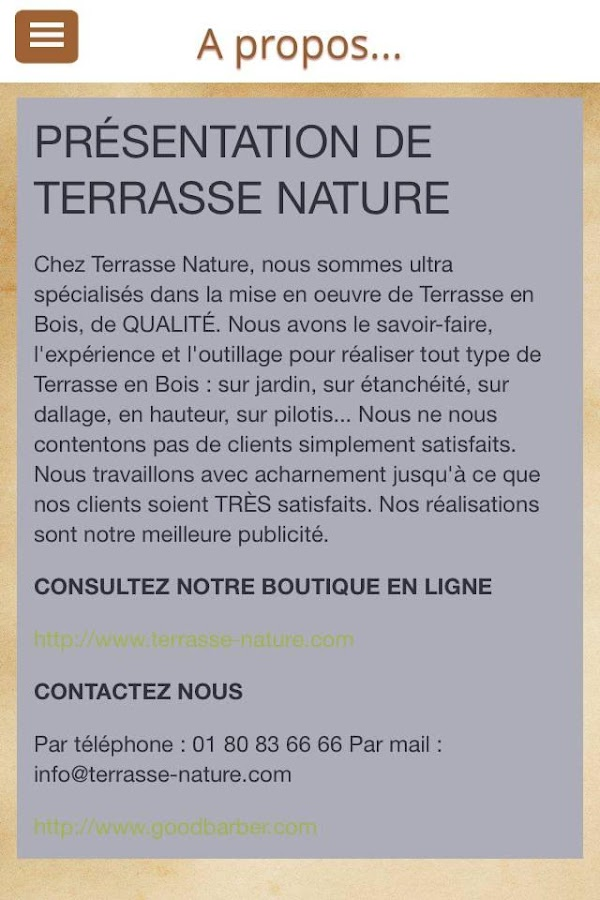 TERRASSE NATURE – Capture d'écran