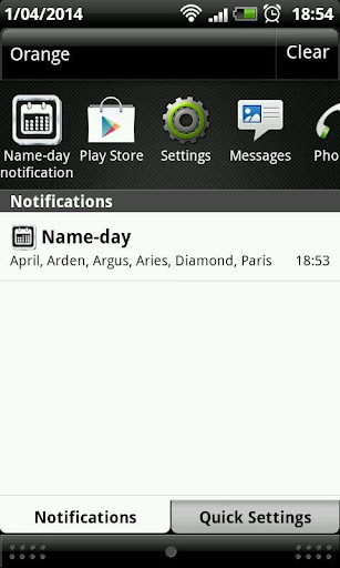 Name-day notification widget
