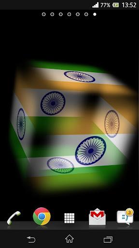3D India Cube Flag LWP