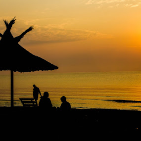 Black Sea <3 by Daniel MV - Landscapes Sunsets & Sunrises ( water, black and white, sunset, umbrella, sunrise, people )