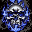 Skull dark flaming multicolor icon