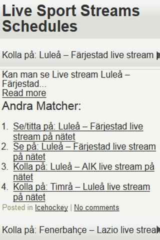 LiveSport TV-Tablå Stream