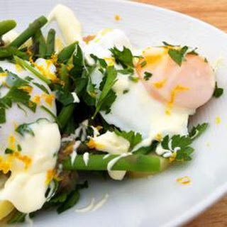 Potato and Asparagus Salad with Crème Fraîche and Poached Eggs