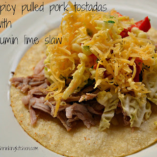 Spicy Pulled Pork Tostadas with Lime Cumin Slaw.