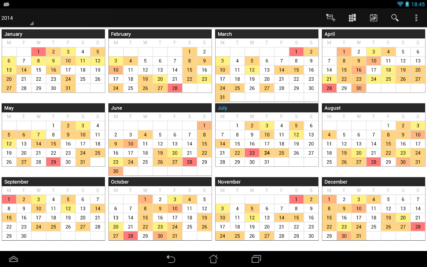 Business Calendar Pro – Screenshot