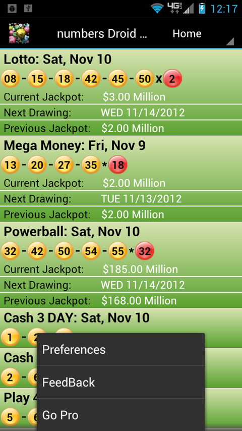 Lottery Droid Lite - screenshot