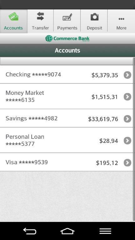 Commerce Bank for Android- screenshot