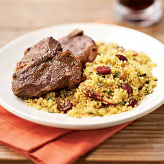Broiled Cumin Lamb Chops with Curried Couscous.