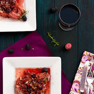 Brined Pork Chops with Blackberry Port Sauce.