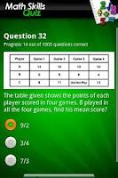 Screenshot of FreePlay Math Skills Quiz