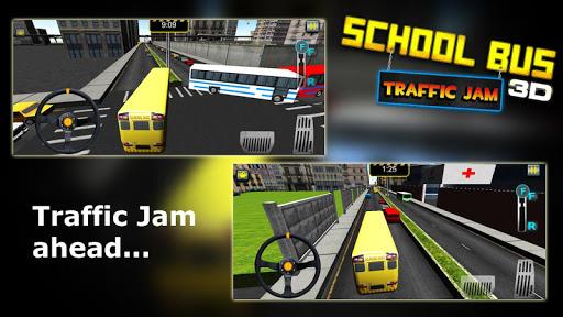 School bus traffic jam 3D