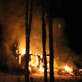 late night house fire  by Gail Spring - Buildings & Architecture Decaying & Abandoned (  )