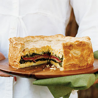 Layered Torta with Ham, Provolone, Spinach, and Herbs