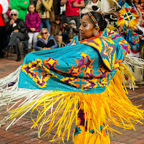 Fancy Shawl Dancer by George Kremer - People Musicians & Entertainers ( fancy shawl dance, ute nation, woman, fancy shawl dancer, tradition, traditional dance, dancer, native american, colorful, mood factory, vibrant, happiness, January, moods, emotions, inspiration )