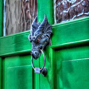 Draconis - Dragon Head Door-knocker by Skye Ryan-Evans - City,  Street & Park  Historic Districts ( historic neighborhood, historic neighbourhood, dragon's head, front door, wales, chepstow village, village street, welsh neighbourhood, wye valley, green door, iron, dragon door-knocker )