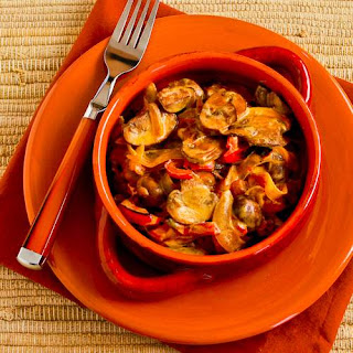 Vegetarian Mushroom Stew with Red Bell Pepper, Onion, and Paprika.