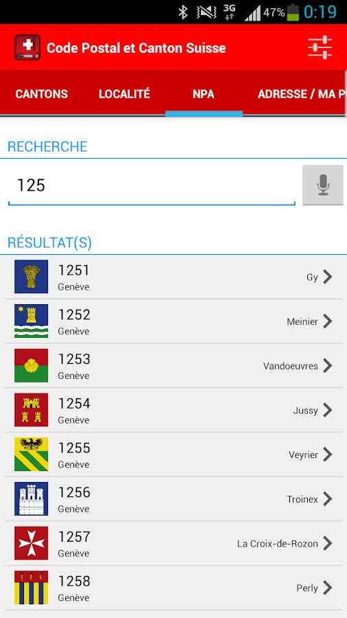 Code postal et canton suisse applications android sur google play - Montigny les cormeilles code postal ...