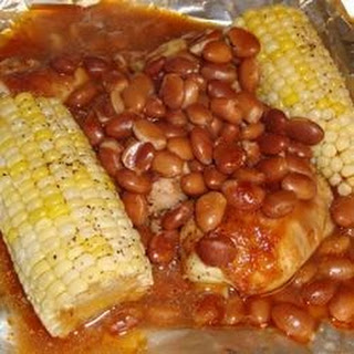 Foiled BBQ Chicken with Corn on the Cob and Pinto Beans