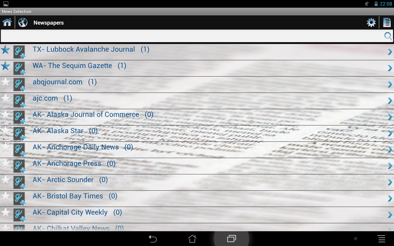 News Selection Newspapers- screenshot