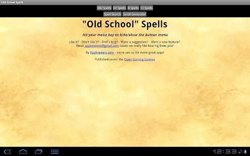 Old School Spells- screenshot thumbnail